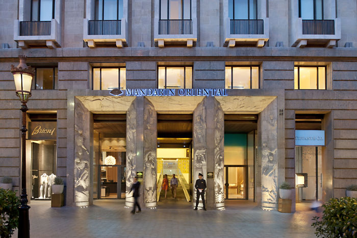 Fachada del hotel Mandarin Oriental de Barcelona. Foto cortesía de Mandarin Oriental